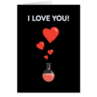 Black Flask Of Hearts I Love You Geek Greeting Card