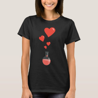 Black Flask Of Hearts Valentine's Day Geek T-Shirt