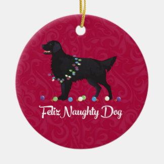 Black Flat Coated Retriever Feliz Naughty Dog Ceramic Ornament