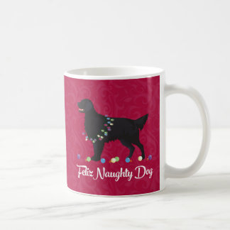 Black Flat Coated Retriever Feliz Naughty Dog Coffee Mug