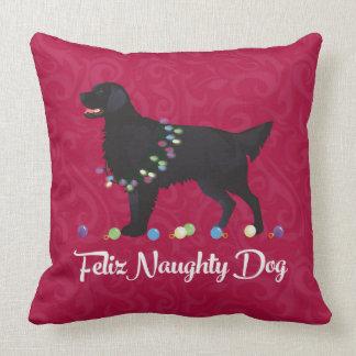Black Flat Coated Retriever Feliz Naughty Dog Throw Pillow