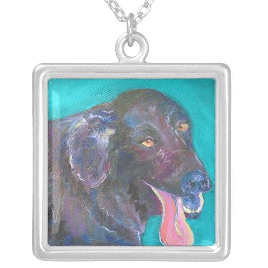Black Flat Coated Retriever Jewelry Art Necklaces