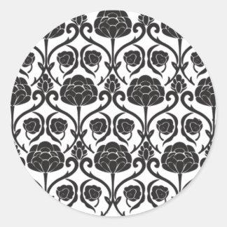 Black Fleur-de-Lis Classic Round Sticker