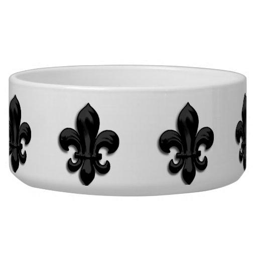 Black Fleur de Lis Dog Bowl