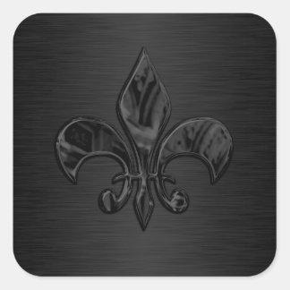 Black Fleur de Lis Envelope Seal Square Sticker