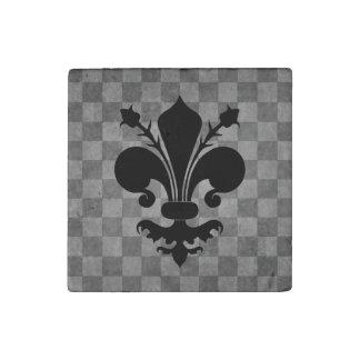 Black Fleur de lis on gray checkerboard pattern Stone Magnet