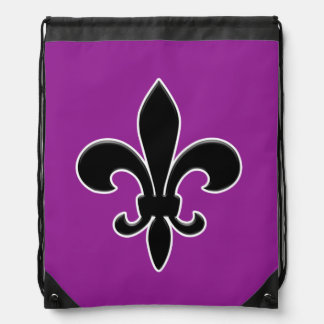Black Fleur de Lis on Purple Background Drawstring Bag