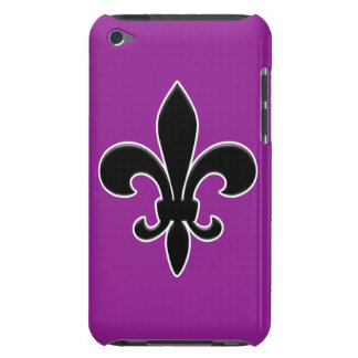 Black Fleur de Lis on Purple Barely There iPod Case