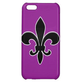 Black Fleur de Lis on Purple iPhone 5C Cases