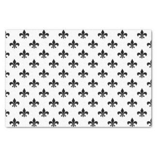 "Black Fleur-de-lis on White 10"" X 15"" Tissue Paper"