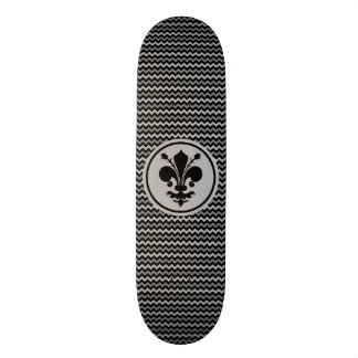 Black fleur de lis on zigzag pattern skateboard deck