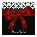 Black Fleur De Lis Party 5.25x5.25 Square Paper Invitation Card