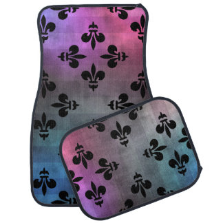 Black Fleur de lis pattern pink purple blue Car Mat