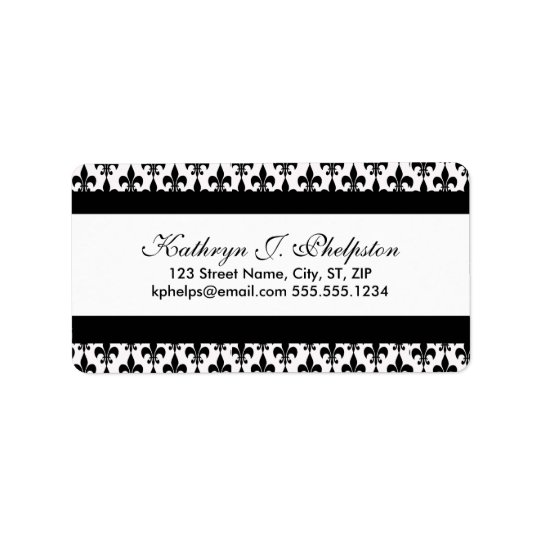 Black Fleur-de-lis Personalized Address Label