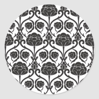 Black Fleur-de-Lis Round Stickers