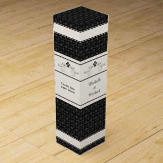 Black Fleur de Lis Scroll Personalized Wine Box