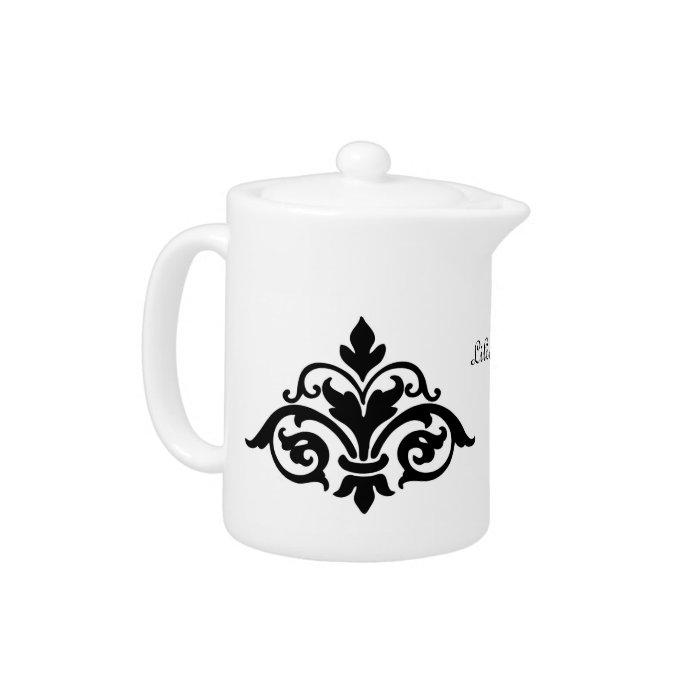 Black Fleur de Lis Tea Pot
