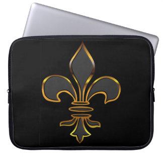 Black Fleur-de-lis Trimmed in Gold Computer Sleeve