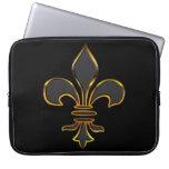 Black Fleur-de-lis Trimmed in Gold Laptop Computer Sleeve