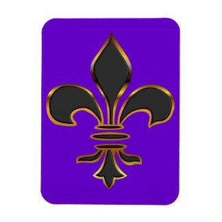 Black Fleur-de-lis Trimmed in Gold Magnet