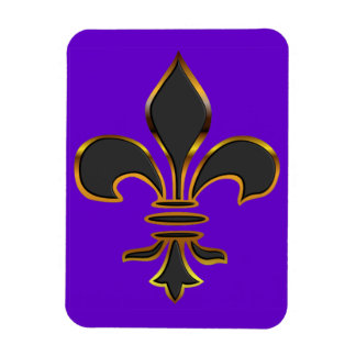 Black Fleur-de-lis Trimmed in Gold Flexible Magnets