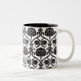 Black Fleur-de-Lis Two-Tone Coffee Mug