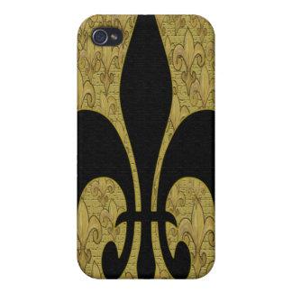 Black Fleur de lis with gold fleur de lis bling iPhone 4/4S Covers