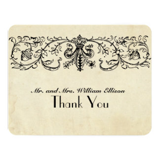 Black Fleur Personalized Thank You Notes Card