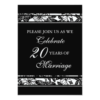Black Floral 20th Anniversary Party Invitation