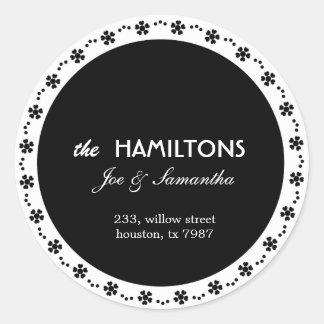 Black floral - address labels classic round sticker