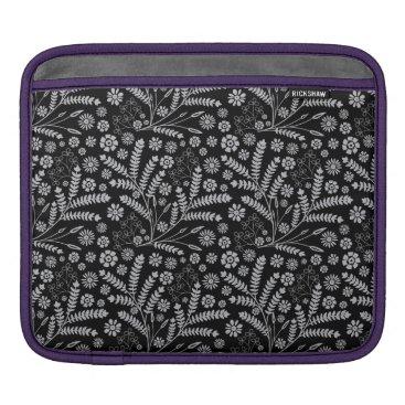 Black Floral And Herbal Beautiful Pattern iPad Sleeve