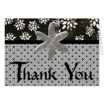 Black Floral and Polka Dot Thank you Greeting Card