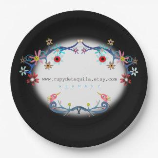Black floral art birds paper plate