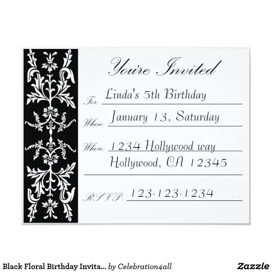 Black Floral Birthday Invitation