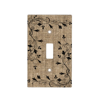 Black Floral Border with Burlap Background Light Switch Cover