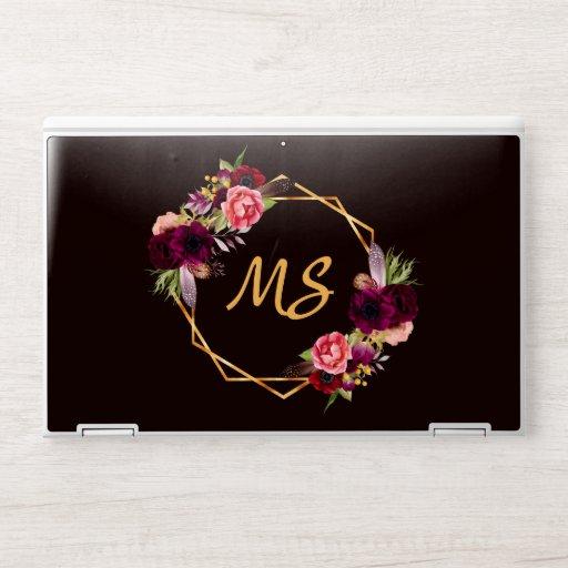 Black floral burgundy gold geo monogram HP laptop skin