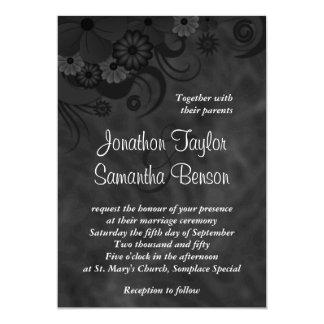 "Black Floral Chalkboard 5"" x 7"" Wedding Invitation"