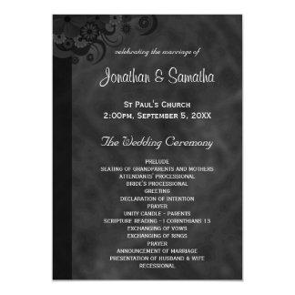 Black Floral Chalkboard Gothic Wedding Programs Card