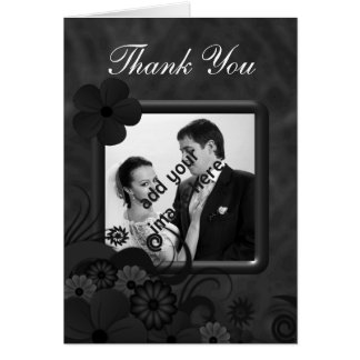 Black Floral Chalkboard Wedding Thank You Cards