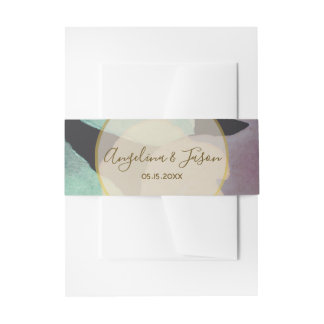 Black Floral Chic Wedding Invitation Belly Band