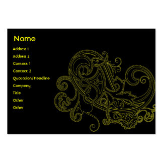 Black Floral - Chubby Large Business Cards (Pack Of 100)