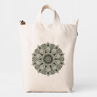 Black Floral Circle Geometric Floral Lace 2 Duck Canvas Bag
