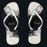 "Black Floral &amp; Confetti Glitter | Wedding Flip Flops<br><div class=""desc"">Bridal Party Flip Flop Shoes. DIY Text. ⭐This Product is 100% Customizable. Graphics and text can be deleted, moved, resized, changed around, rotated, etc... 99% of my designs in my store are done in layers. This makes it easy for you to resize and move the graphics and text around so...</div>"