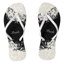 Black Floral & Confetti Glitter   Wedding Flip Flops