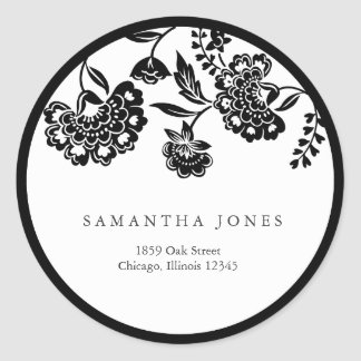 black floral damask address label classic round sticker