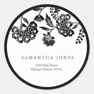 black floral damask address label classic round sticker
