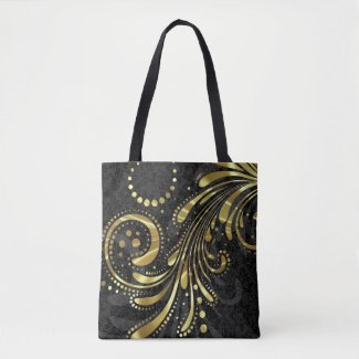 Black Floral Damask And Gold Swirl