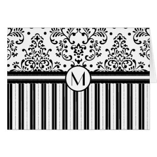 Black Floral Damask and Stripes-Monogram Card