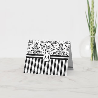 Black Floral Damask and Stripes-Monogram Note Card