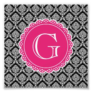 Black Floral Damask Pattern Hot Pink Monogram Photo Print